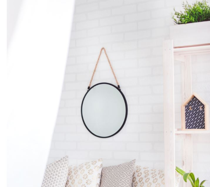 black rim mirror, minimal